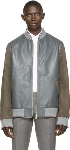 Thom Browne Grey & Brown Leather Bomber