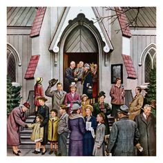 """""""After Church,"""" April 16, 1949  by Stevan Dohanos"""