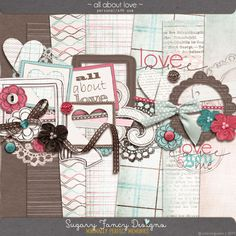All About Love mini kit freebie from Sugar Fancy Designs #scrapbook #digiscrap…