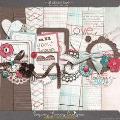 All About Love mini kit freebie from Sugar Fancy Designs #scrapbook #digiscrap…