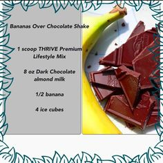 THRIVE Premium Lifestyle Mix comes in a variety of flavors, so you can make your THRIVE shake any way you want to. Learn more about THRIVE Mix. Chocolate Almond Milk, Dark Chocolate Almonds, Chocolate Shake, Thrive Shake Recipes, Smoothie Recipes, Smoothies, Healthy Options, Healthy Recipes, Healthy Foods