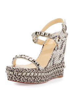 CHRISTIAN LOUBOUTIN Cataclou Snake-Print 120Mm Wedge Red Sole Sandal, Multi. #christianlouboutin #shoes #sandals