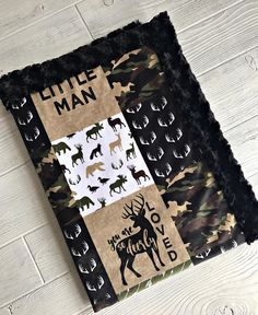 Camo Minky Baby Blanket Little Man Hunting Blanket Crib
