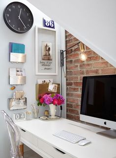 Desk Under Stairs closet under stairs converted to office space :) great idea if you