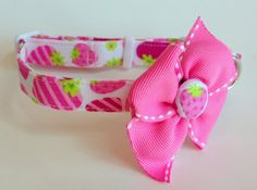 Pink and Green Strawberries Dog collar size Small by jeanamichelle, $14.75