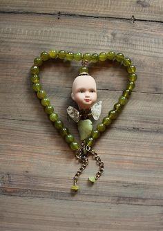 jade necklace with sweet angel doll by firuzangoker on Etsy, $75.00 #artdoll #jewelry #angel