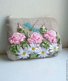 Linen purse with ribbon embroidery / Купить Косметички - цветочный, Вышивка…
