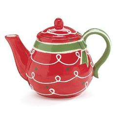 Red Green Christmas Icing 38 OZ Ceramic Teapot