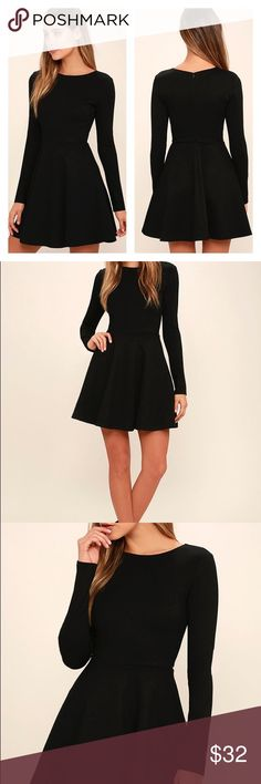 "Lulus long sleeve black dress• FINAL price drop New with tags LULUS basic black long sleeve  Perfect basic staple dress Bust - 13""  Sleeves - 23"" Length - 31"" Lulu's Dresses Mini"