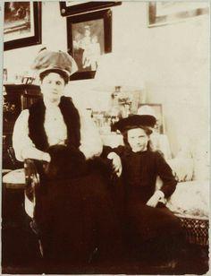 """Empress Alexandra Feodorovna of Russia with the Grand Duchess Tatiana Nikolaevna Romanova of Russia at the home of Anya Alexandrovna Vyrubova.The photo came from the album of Anya's. """"AL"""""""