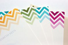 Chevron Stripe Personalized Stationery Flat Note Cards