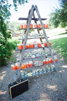 Ladder as drink display.
