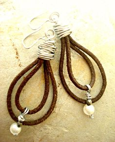 Boho Earrings Leather Earrings Leather by HandcraftedYoga, $36.00