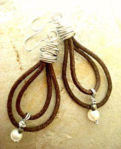 Boho Earrings  Leather Earrings  Leather by HandcraftedYoga, $36.00