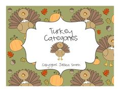 Turkey Categories-Speech Therapy Activity