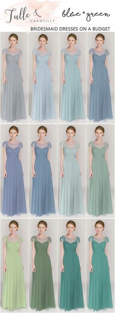 shades of blue and green bridesmaid dresses