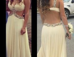 Sexy A Line Chiffon Prom Dresses Deep V Neck Backless Beading Crystals Evening Dress Party Formal Dress Gowns Vestidos Graduation Homecoming Dresses