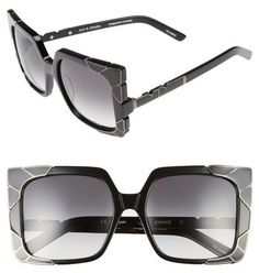 d7964deb69 Women s Pared Sun  amp  Shade 55Mm Square Retro Sunglasses - Black  Gun  Metal