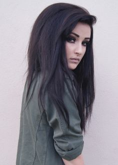 love the dark hair and makeup look
