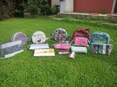 Všechny kabelky, co jsme ušily s Ivou a Evou.   srpen 2017