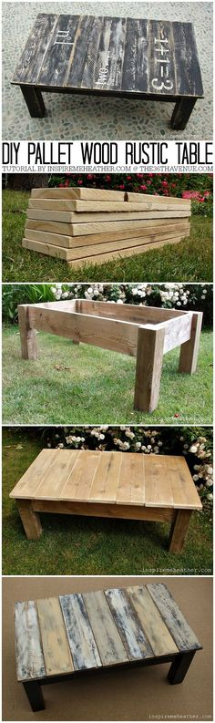 Table palette DIY Pallet Wood Rustic Coffee Table / Go for a rustic style for your next piece of furniture. You can reuse pallet wood to get great results. Pallet Crafts, Diy Pallet Projects, Pallet Ideas, Home Projects, Woodworking Projects, Woodworking Patterns, Craft Projects, Teds Woodworking, Woodworking Ornaments