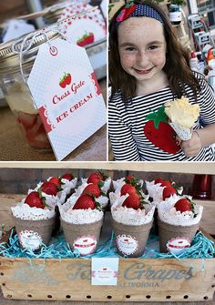 Vintage Strawberry Ice Cream Social with ice cream toppings in berry baskets, doily ice cream cone wraps and cute strawberry and polk dot themed printables!