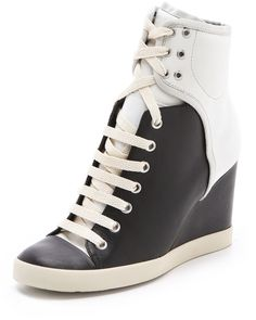 Two Tone Wedge Sneakers