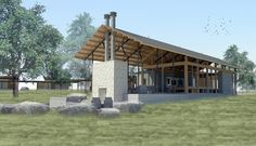 digital-pin-up-rocking-x-ranch Outdoor Pavilion, Outdoor Pergola, Outdoor Rooms, Lake Flato, Covered Walkway, Steel Pergola, Tiny Cabins, Roof Structure, Beach Shack