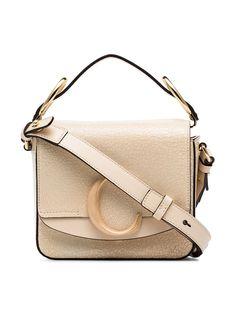 17464d7c3e30 Shop Chloé beige C ring small leather shoulder bag