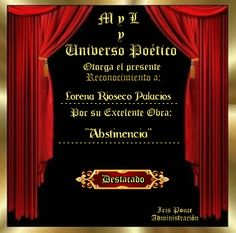 """ Abstinencia "" - MyL-UP Mitología,Leyendas y Universo Poético Up, Profile, Blog, Door Prizes, Writers, Legends, Universe, User Profile, Blogging"