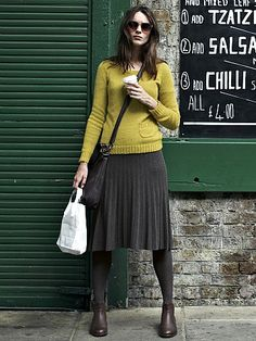 Pleated knit skirt.  Adorable outfit!