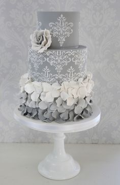 Ombre Ruffles design by The Enchanting Cake Company #weddingcake www.theenchantingcakecompany.co.uk