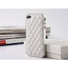 Quilt Pattern Leather Hard Case Cover for iPhone 4 4S - White,$1.27