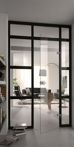 While a glass door competes tightly in a home décor realm, here's how to choose the right glass door design that'll fit your house. Modern Interior, Interior Architecture, Stylish Interior, Interior Ideas, Suites, Interiores Design, Windows And Doors, Steel Windows, Home And Living