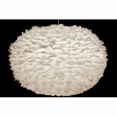 Vita Eos Extra Large Ceiling Light Shade White Feathers Lamp Shade 75x45cm