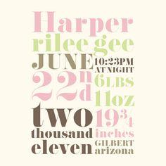 birth announcement print, love!