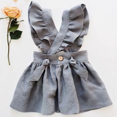 Handmade linen pinafore dress gypsyandfree on etsy Baby Girl Party Dresses, Little Girl Dresses, Girls Dresses, Dress Party, Baby Party, Dresses Uk, Fashion Kids, Baby Girl Fashion, Cute Baby Clothes