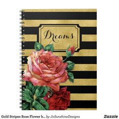 Shop Gold Stripes Rose Flower by Jo Sunshine Notebook created by JoSunshineDesigns. Dream Journal, Journal Diary, Diary Notebook, Journal Notebook, Custom Journals, Gold Stripes, Notebooks, Addiction, Sunshine