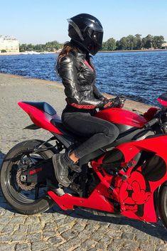 Super Hot Biker Girl in a Cool AGV Helmet Sitting on Her Kawasaki Ninja Motorcycle Red Motorcycle Helmets, Ninja Motorcycle, Agv Helmets, Motorcycle Wear, Motorbike Girl, Motorcycle Design, Tron Bike, Ninja Wallpaper, Bike Couple