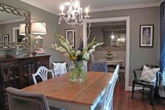This is my living and dining room color. Dorian Gray by Sherwin Williams