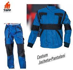 Costum salopeta jacheta + pantalon bicolor albastru din bumbac Parachute Pants, Costumes, Fashion, Moda, Dress Up Clothes, Fashion Styles, Fancy Dress, Fashion Illustrations, Men's Costumes