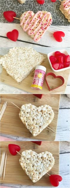 Krispie Treat Hearts for Valentine's Day - A simple dessert for Valentine's Day!Krispie Treat Hearts for Valentine's Day These Krispie Treat Hearts for Valentine's Day are the perfect dessert for your Valentine's Day. The heart-shaped Valentine Desserts, Valentines Day Food, Kinder Valentines, Valentines Bricolage, Valentines Baking, Valentine Treats, Holiday Treats, Party Treats, Valentine Party