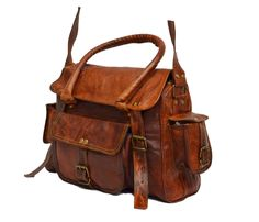 "Handmade Vintage Leather Satchel for Women. 9"" x 12"" x 4"""