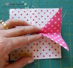 """Dottie pinwheel block with one-seam flying geese! Julie Cefalu My project is a 12 1/2″ (unfinished) pinwheel block made with lots of dots!  The """"kicker"""" is the flying geese unit – it's made with just ONE seam.  I can't wait to show you how easy it is."""