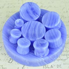 """Pair of Blue Lace Agate concave double flare plugs - available in 16 sizes 0g (8mm) - 3"""" (76mm) SP-010-ABL"""