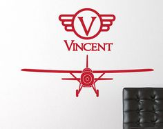 Airplane Wall Sticker Decal Vinyl Plane Wall by JaneyMacWalls