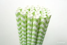 Pretty green chevron paper straws add a perfect touch to your party.   made in the USA  Set of 25 $4.00