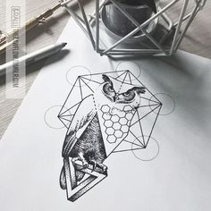 Wisdom! Abstract dotwork owl design with the Penrose triangle and geometry Get it: skinque.com