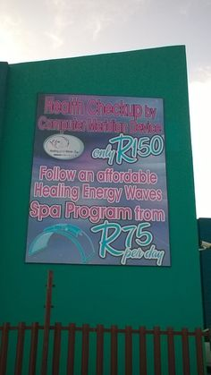 Health checkup by computer meridian device R 150 per person. Healing Energy Waves spa program - R 75 per day