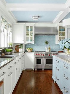 that ceiling is wonderful Fresh and Open Pack on the charm with cozy cottage-style cabinets. Soft hues, pretty paneling, and simple yet sweet accents abound in these top ideas for cottage kitchen cabinetry. Cottage Kitchen Cabinets, Cottage Kitchens, Kitchen Cabinet Design, Kitchen Cabinetry, Kitchen Redo, New Kitchen, Home Kitchens, Glass Kitchen, Beach House Kitchens
